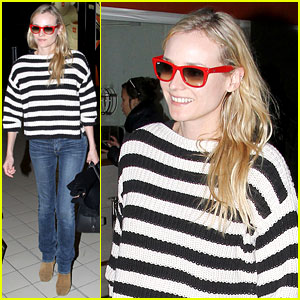 Diane Kruger: Striped Sweater at Charles de Gaulle Airport