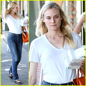 Diane Kruger Walks with Her Tissue Box