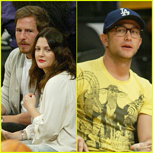 Joseph Gordon-Levitt & Drew Barrymore: Lakers Game Spectators!