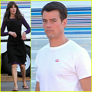 Josh Duhamel Wears 'I Voted' Sticker on Set