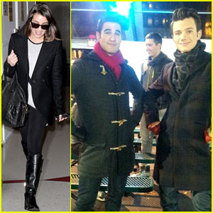 Lea Michele Leaves NYC, Chris Colfer Ice Skates for 'Glee'