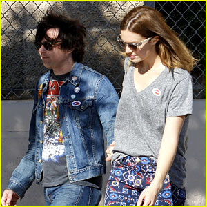 Mandy Moore Votes with Birthday Boy Ryan Adams!