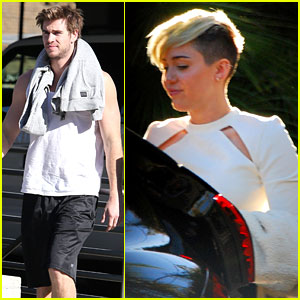 Miley Cyrus Hits the Studio, Liam Hemsworth Breaks a Sweat
