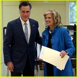 Mitt Romney Votes for Presidency in Massachusetts - Pics!