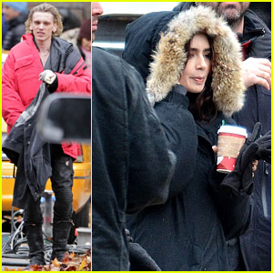 Lily Collins & Jamie Campbell Bower: Bundled Up on Set!