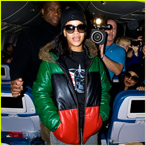 Rihanna Emerges on 777 Tour Flight to NYC - First Pics!