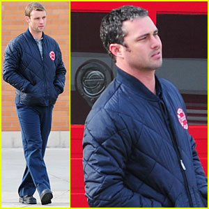 Taylor Kinney & Jesse Spencer: 'Chicago Fire' Set!