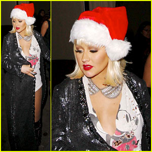 Christina Aguilera: Sexy Santa at Birthday Party!