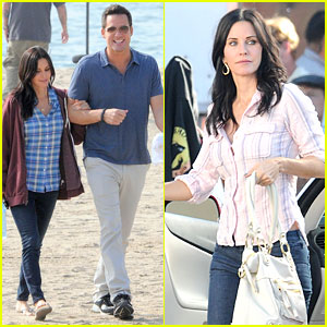 Courteney Cox: 'Cougar Town' Set with Josh Hopkins!