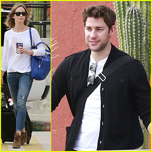 Emily Blunt & John Krasinski Arrive at Jennifer Aniston's Cabo Crib