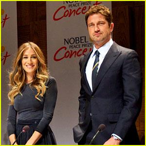 Gerard Butler & Sarah Jessica Parker: Nobel Peace Prize Concert Press Conference!