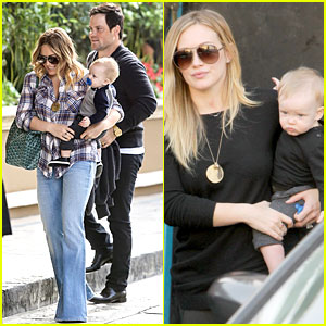 Hilary Duff & Luca: Matching Outfits for Lunch!