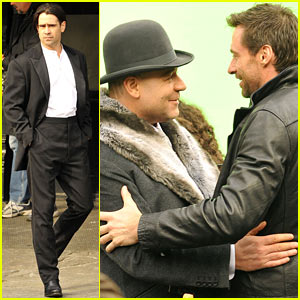 Hugh Jackman Visits Russell Crowe on 'Winter's Tale' Set!
