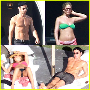 Jennifer Aniston: Bikini Sunbathing with Shirtless Justin Theroux!