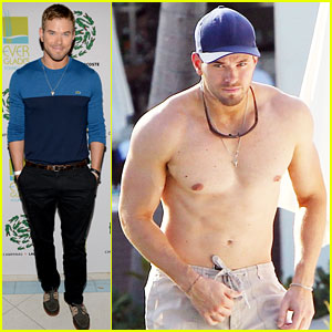 Kellan Lutz: Shirtless Dip in the Pool!