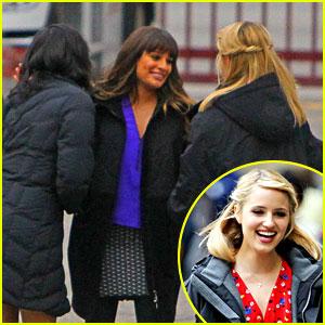 Lea Michele & Dianna Agron: 'Glee' Set Hugs!