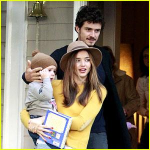 Miranda Kerr & Orlando Bloom Visit Friends with Flynn!