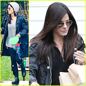 Sandra Bullock: School Drop-off with Rain Boots!