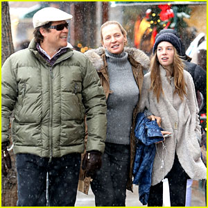 Uma Thurman & Arpad Busson: Snowy Aspen Stroll with Maya!