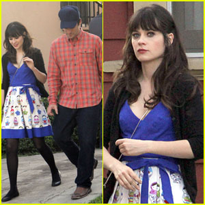 Zooey Deschanel: 'New Girl' Set with Jake Johnson!