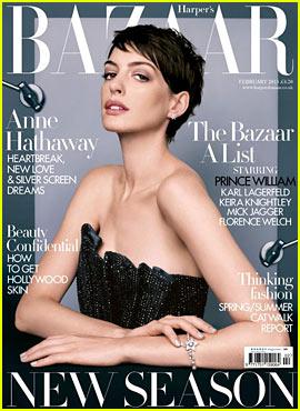 Anne Hathaway Covers 'Harper's Bazaar UK' February 2013