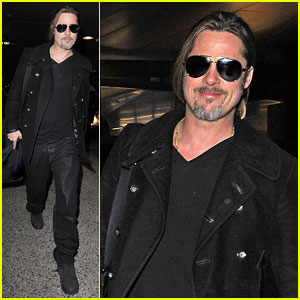Brad Pitt: Solo Touch Down in Los Angeles!