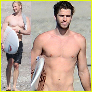 Chris & Liam Hemsworth: Shirtless Surfing Duo!