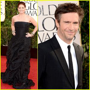 Debra Messing & Jack Davenport - Golden Globes 2013 Red Carpet