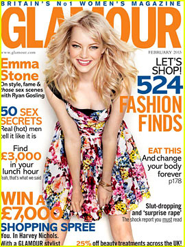 Emma Stone Covers 'Glamour UK' February 2013