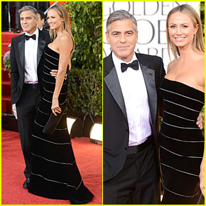 George Clooney &#038; Stacy Keibler - Golden Globes 2013 Red Carpet