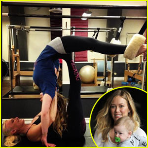 Hilary Duff: Intense Piloxing Stretch!
