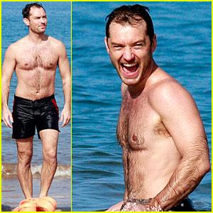 Jude Law: Shirtless Hawaiian Body-Boarding!