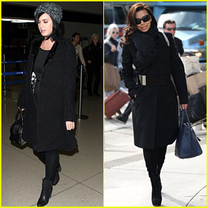 Katy Perry & Eva Longoria Arrive at LAX After Inauguration
