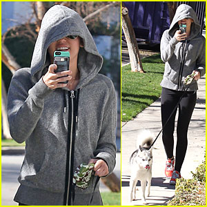 Miley Cyrus: Hoodie Walk with Pet Pooch!
