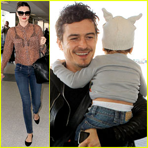 Miranda Kerr, Orlando Bloom & Flynn: Family Flight!