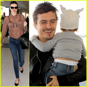 Miranda Kerr, Orlando Bloom & Flynn: Family Flight!