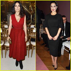 Salma Hayek & Dita Von Teese: Paris Fashion Week Ladies!