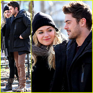 Zac Efron & Imogen Poots: Park Stroll on 'Dating' Set