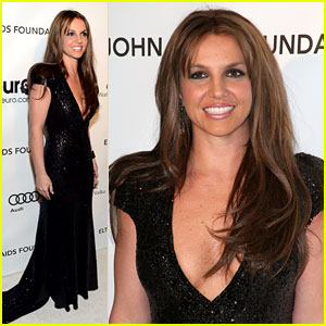 Britney Spears: Brown Hair at Elton John Oscars Party 2013