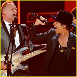 Bruno Mars & Sting: Grammys 2013 Performance - WATCH NOW!