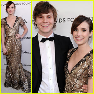 Emma Roberts - Elton John Oscars Party 2013 with Evan Peters