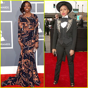 Estelle & Janelle Monae - Grammys 2013 Red Carpet