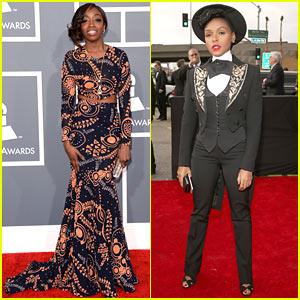 Estelle & Janelle Monae - Grammys 2013 Red Carpet