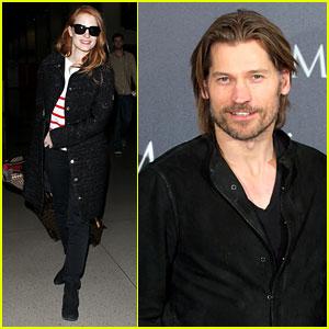 Jessica Chastain Lands at LAX, Nikolaj Coster-Waldau Promotes 'Mama'
