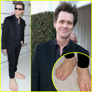 Jim Carrey: Giant Feet at Elton John Oscars Party 2013!