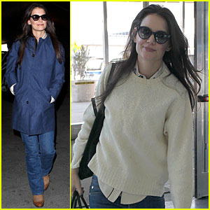 Katie Holmes Flies From JFK to LAX!