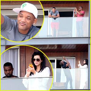 Kim Kardashian & Kanye West: Balcony Fun with Will Smith!