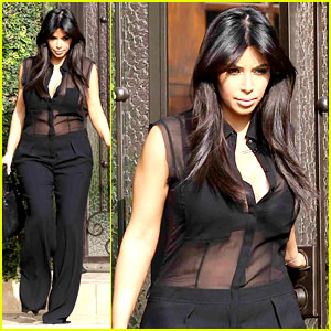 Kim Kardashian: Pregnant in Sheer Top En Route to Airport!