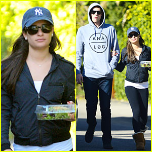 Lea Michele & Cory Monteith: Aroma Cafe Lunch!