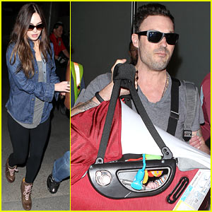 Megan Fox & Brian Austin Green: Family Flight with Baby Noah!